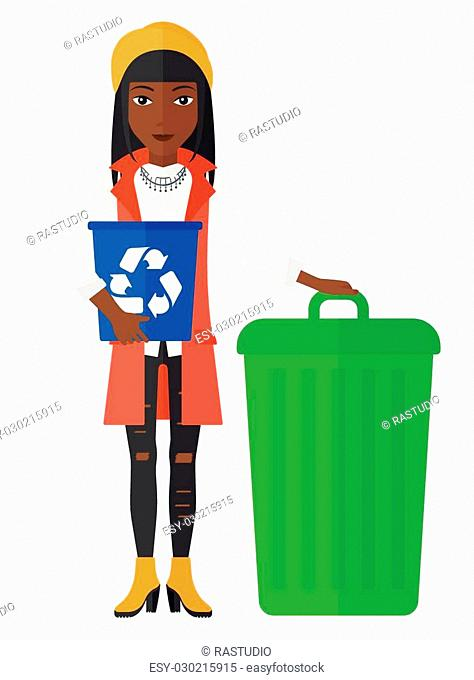 An african-american woman standing with a recycle bin in hand and another bin on the ground vector flat design illustration isolated on white background