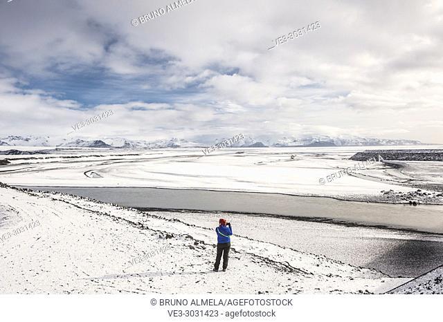 Gígjukvist glacier river and Skaftafellsfjöll mountains view in Skeidarársandur (region of Austurland, Iceland)
