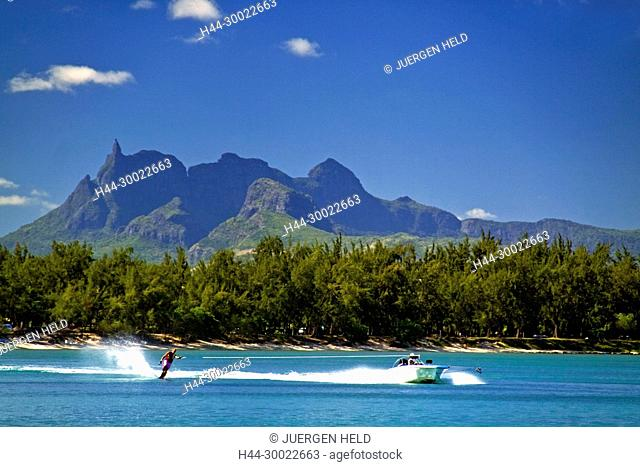 Water ski of Club Med at La Pointe aux Canonniers at north east coast Mauritius, Africa