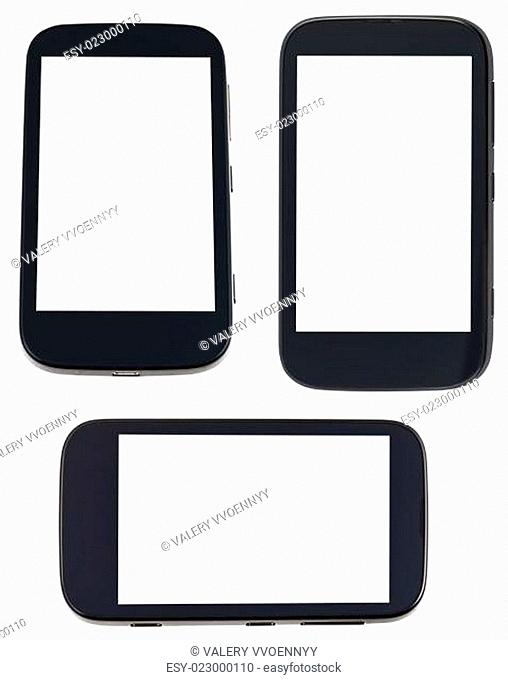 set of smart phones with cut out screen
