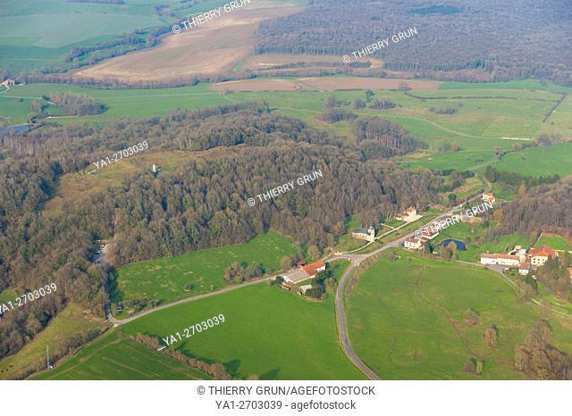 France, Meuse (55), village of Vauquois, back butte de Vauquois (aerial view)