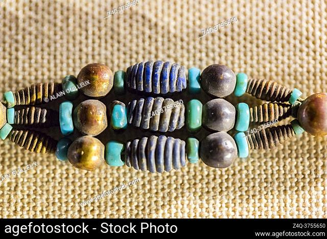 Egypt, Cairo, Egyptian Museum, 1 of the 4 bracelets found in the tomb of king Djer, First Dynasty, Umm el Qaab, Abydos