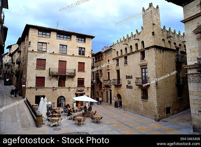 Buildings in the Spain square of Valderrobres, Teruel, Aragon, Spain