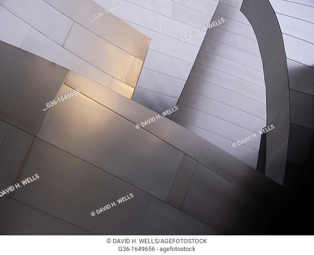 Different steel corners of the Walt Disney Concert Hall in Los Angeles, California, United States meet and overlap