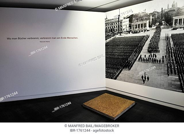 Granite slab of the pavement of Koenigsplatz square from 1935, exhibition Typical Munich, Stadtmuseum, city museum, Munich, Bavaria, Germany, Europe