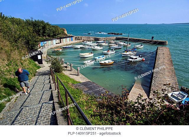 Port Racine at Saint-Germain-des-Vaux, smallest harbour in France, Lower Normandy
