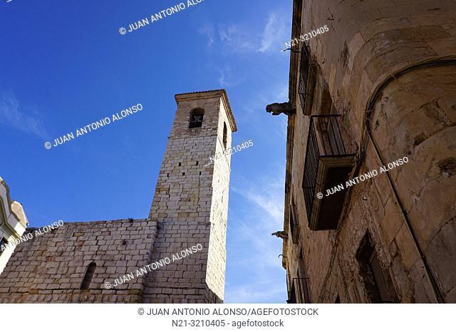 Sant Miquel Church bellfry. Montblanc, Tarragona, Catalonia, Spain, Europe