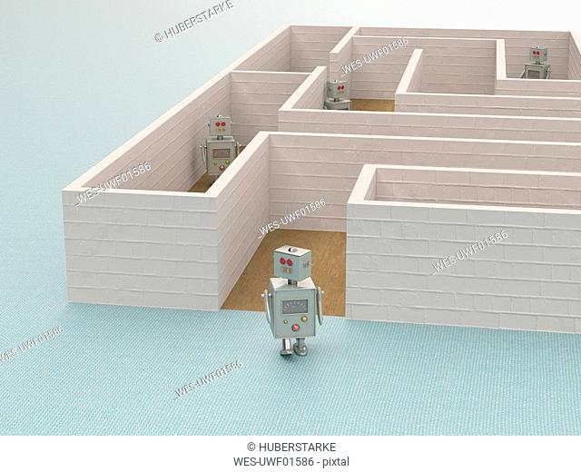 3D rendering, Toy robot leaving a maze
