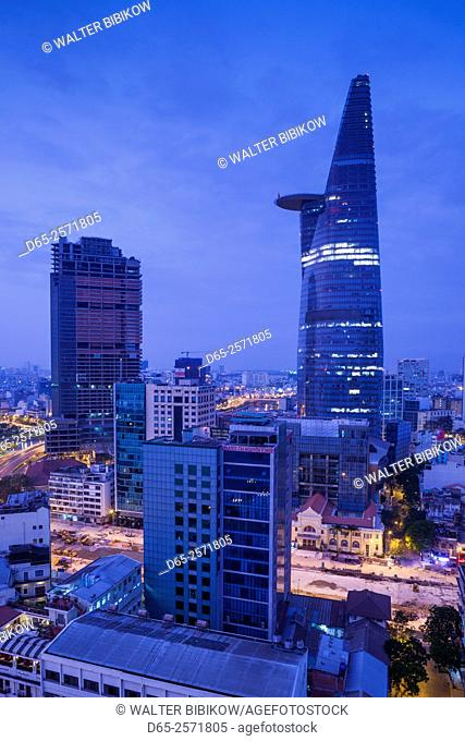 Vietnam, Ho Chi Minh City, elevated city view with Bitexco Tower, dawn
