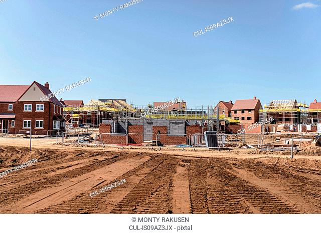View of housing development on building site