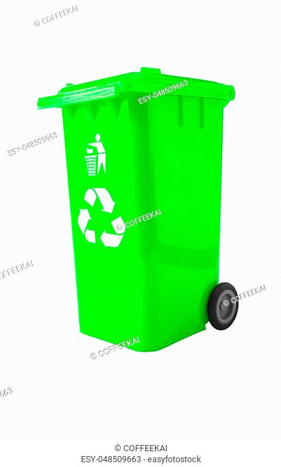 Trash Bin with recycle logo isolated on white with path
