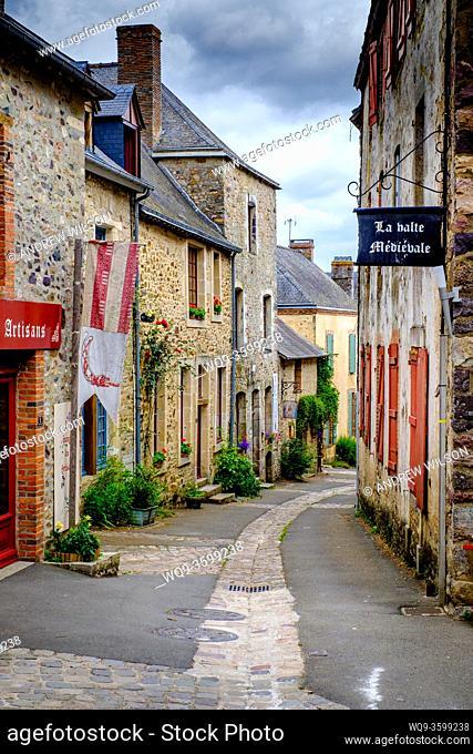 Street scene in the picturesque village of Sainte-Suzanne, Pays de la Loire, France