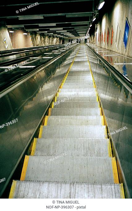An escalator moving upwards