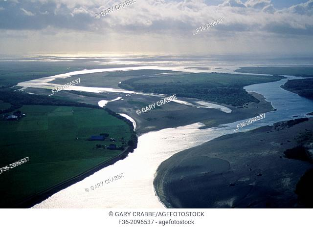 Aerial over the mouth of the Eel River, near Ferndale, Humboldt County, CALIFORNIA