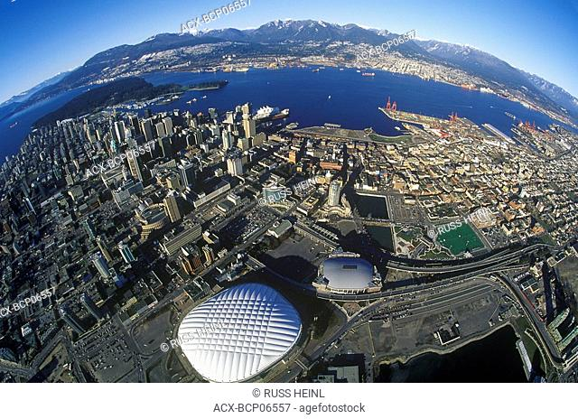 Aerial of Downtown Vancouver with BC Place and GM Place arenas, British Columbia, Canada