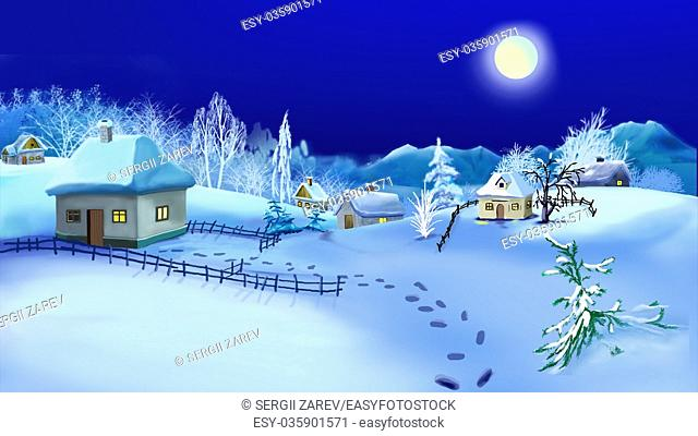 Christmas Night in Old Traditional Ukrainian Village. Handmade illustration in a classic cartoon style