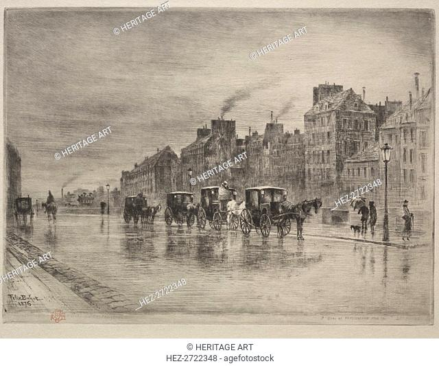 A Winter Morning on the Quai de lHôtel -Dieu, 1876. Creator: Félix Hilaire Buhot (French, 1847-1898)