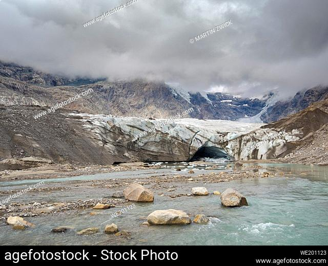 Glacier snout of glacier Pasterze at Mount Grossglockner, which is melting extremely fast due to global warming. Europe, Austria, Carinthia