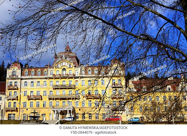 Facades of residential buildings, Spa resort Marianske Lazne - Marienbad, West Bohemia, Czech Republic, Europe