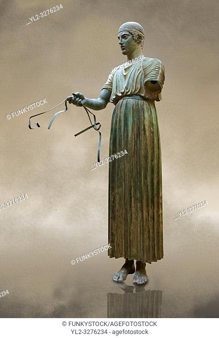 """""""""""Charioteer of Delphi"""" 470 BC. The """"Charioteer of Delphi"""" is one of the best known ancient Greek statues, and one of the best preserved examples of..."