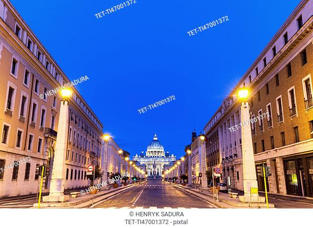 Road leading to St. Peter's Basilica at dusk