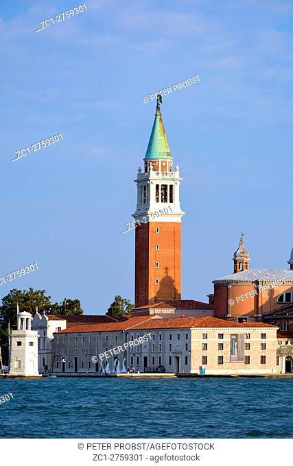 Venice, Veneto, Italy - September 7, 2016: View from San Marco to Island of San Giorgio Maggiore in the Lagoon of Venice in Italy