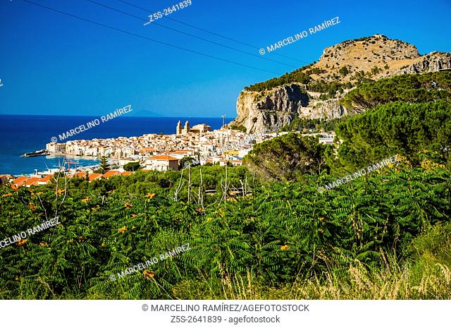 Panoramic view of the city of Cefalu, Sicily, Italy