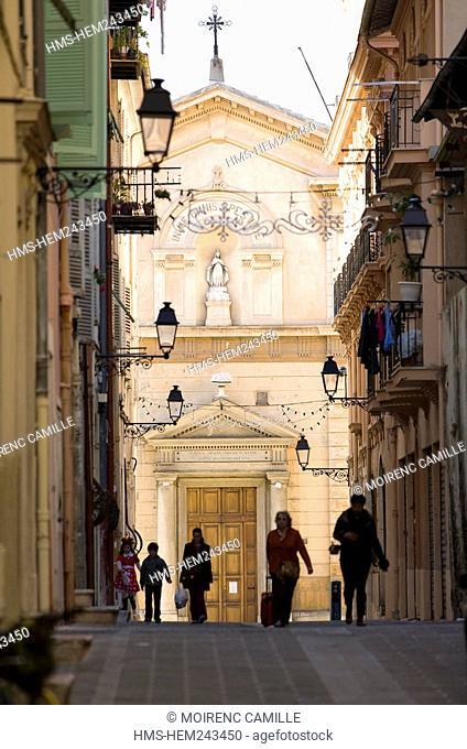 France, Alpes Maritimes, Menton, Rue De Brea, the Chapelle des Penitents Noirs Black Penitents chapel