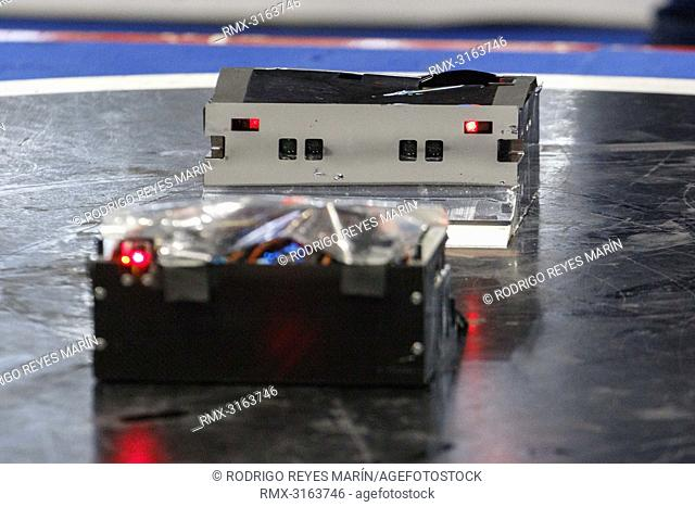 October 21, 2018, Tokyo, Japan - Zumo Robots compete during the World Robot Summit 2018 at Tokyo Big Sight in Tokyo. The exhibition showcases the latest...