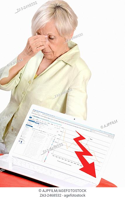 Elderly looking depress having to face her business bankruptcy