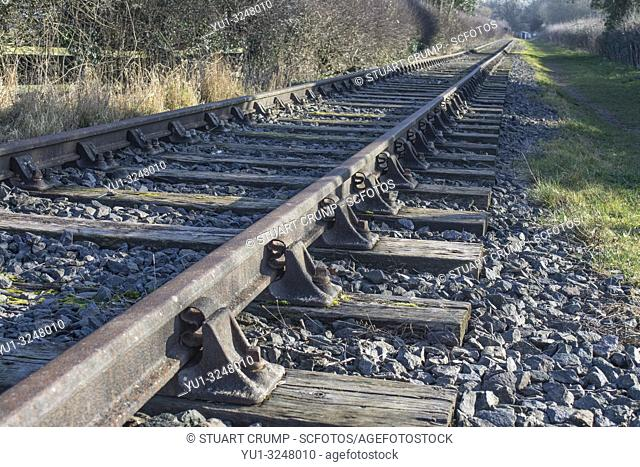 Section of Rail track of the Swannington Incline in the Leicestershire village of Swannington