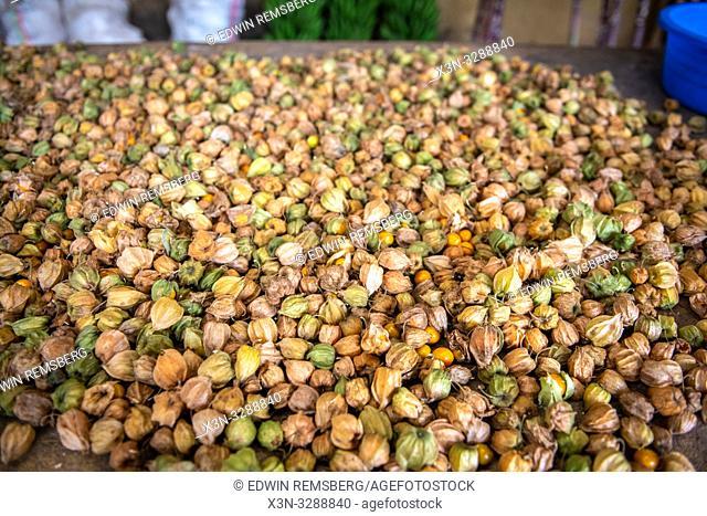 Cape gooseberry (Physalis peruviana) laid out at outdoor market, Rwanda Farmers Market, in Rwanda