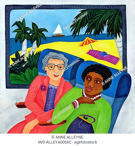 Two women riding the bus through tropical location
