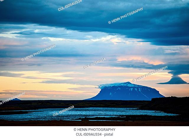 Elevated view of table mountain Herdubreid, Icelandic highlands, Iceland