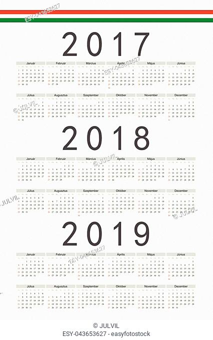 Set of rectangle Hungarian 2017, 2018, 2019 year vector calendars. Week starts from Sunday