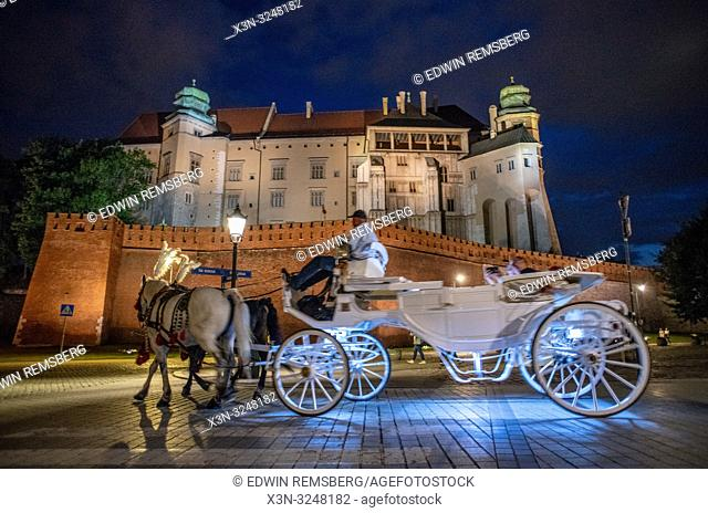 An illuminated horse drawn carriage carries passengers along cobblestone road with Wawel Royal Castle looming above them, Krak—w, Lesser Poland Voivodeship