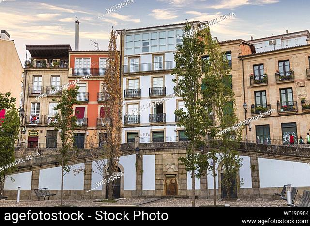 Residentail buildings at dawn, Ourense, Galicia, Spain