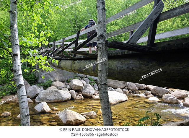Pemigewasset Wilderness - Hiker on footbridge, which crosses the East Branch of the Pemigewasset River along the Thoreau Falls Trail at North Fork Junction in...