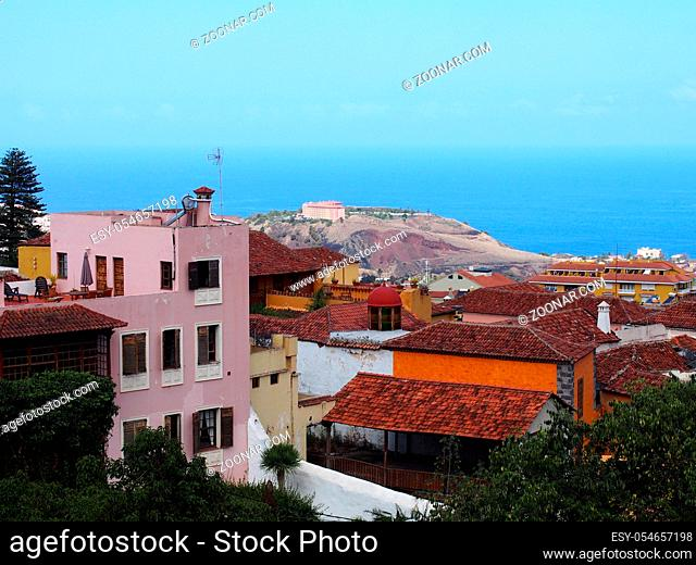 view of la orotava showing town rooftops and the sea