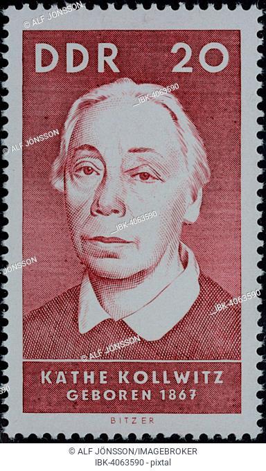 Käthe Kollwitz, a German paintress, printmaker, and sculptor, portrait on a German stamp, GDR, 1967
