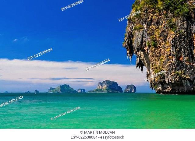 Ocean coast landscape with cliffs and islands at Phra Nang bay