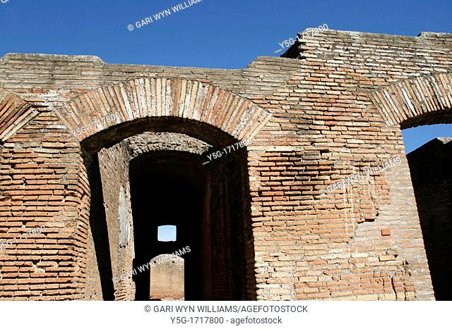 roman ruins in the ancient town of ostia antica, italy