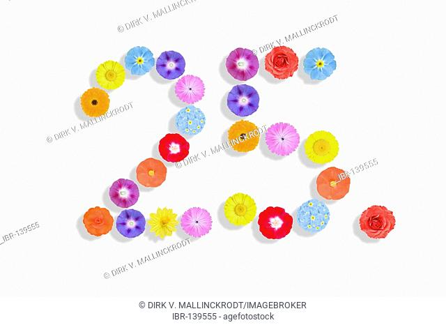 Numbers written with flowers