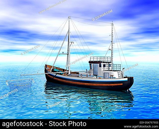 Kutter als Fischerboot mit Netzen