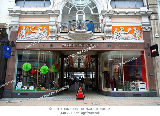 The Royal Arcade in Old Bond street Mayfair central London England Britain UK Europe