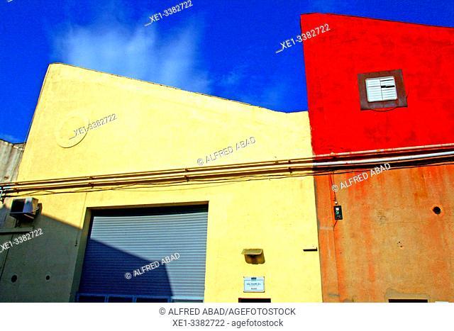 Industrial buildings, industrial park, Sant Adrià del Besòs, Catalonia, Spain