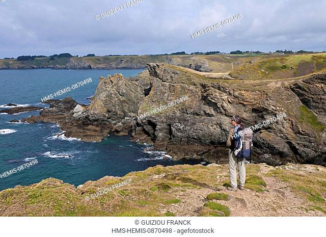 France, Morbihan, Belle Ile en Mer, the wild coast, along the GR340 between Herlin beach (Bangor village) and the village of Locmaria