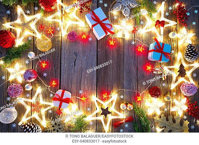 Christmas background postcard vintage stars on wood background