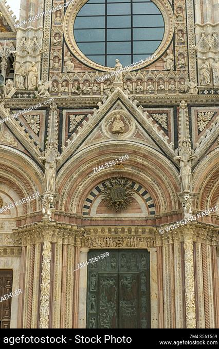 Detail of architecture of the Siena Cathedral di Santa Maria, better known as the Duomo, is a medieval marble church in Siena, Tuscany