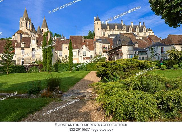 Loches, Castle, Logis Royal Castle, Chateau de Loches, Indre-et-Loire, Touraine, Pays de la Loire, Loire Valley, UNESCO World Heritage Site, France